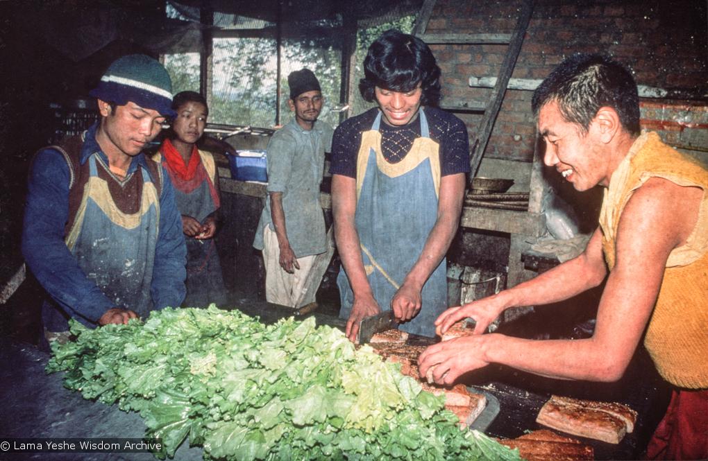 (16766_sl.tif) The kitchen at Kopan Monastery, Nepal, 1976. Kancha Tsultrim Norbu