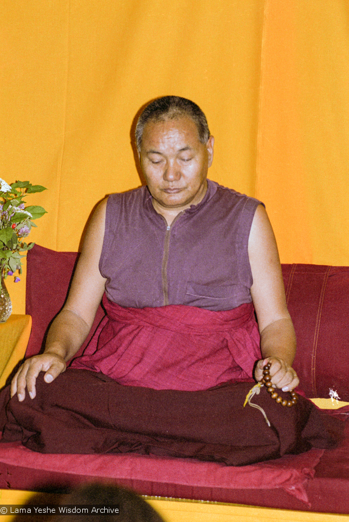 """(17141_ng.TIF) Over one weekend at Barnens O on Vaddo in September of 1983, Lama Yeshe gave a meditation course which later was published in English called """"Light of Dharma"""", translated into Swedish as """"Lamas ljus"""". Photos by Holger Hjorth. You can read a transcript here: http://www.lamayeshe.com/index.php?sect=article&id=719"""