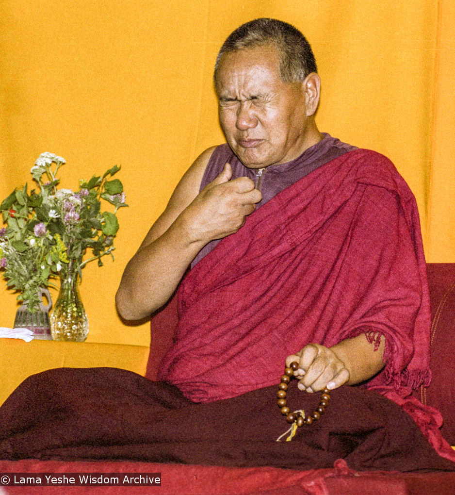 """(17157_ng.TIF) Over one weekend at Barnens O on Vaddo in September of 1983, Lama Yeshe gave a meditation course which later was published in English called """"Light of Dharma"""", translated into Swedish as """"Lamas ljus"""". Photos by Holger Hjorth. You can read a transcript here: http://www.lamayeshe.com/index.php?sect=article&id=719"""