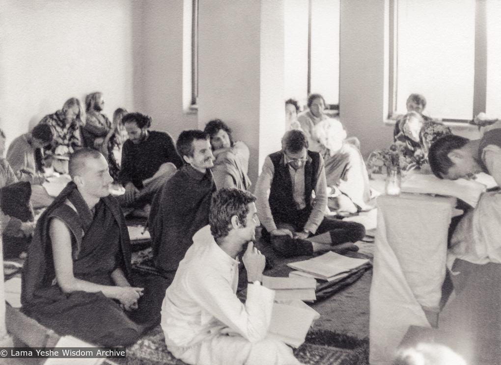 (18756_pr-3.jpg) Third Kopan Meditation course, fall, 1972. Photo includes Lama Zopa Rinpoche, Piero Cerri, Steve Malasky (Steve Pearl), Nick Ribush, and Luca Corona.