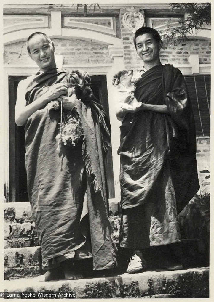 Lama Yeshe and Lama Zopa Rinpoche on the steps of the old house at Kopan Monastery, possibly 1969.