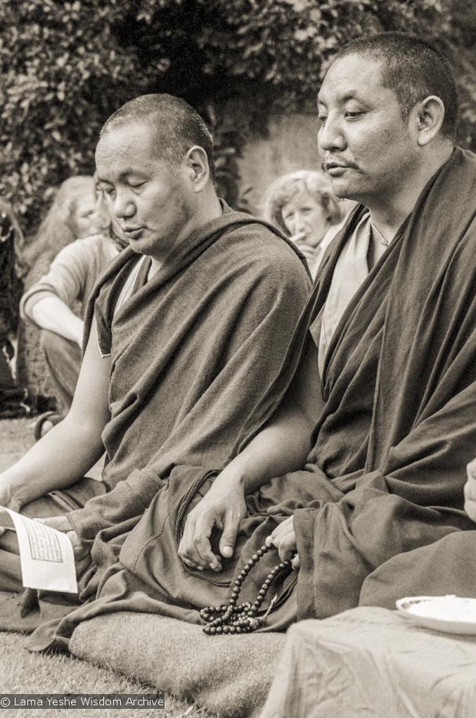 (20945_ng-1.psd) Lama Yeshe and Geshe Tegchok doing puja, Manjushri Institute, England, 1979. Brian Beresford (photographer)