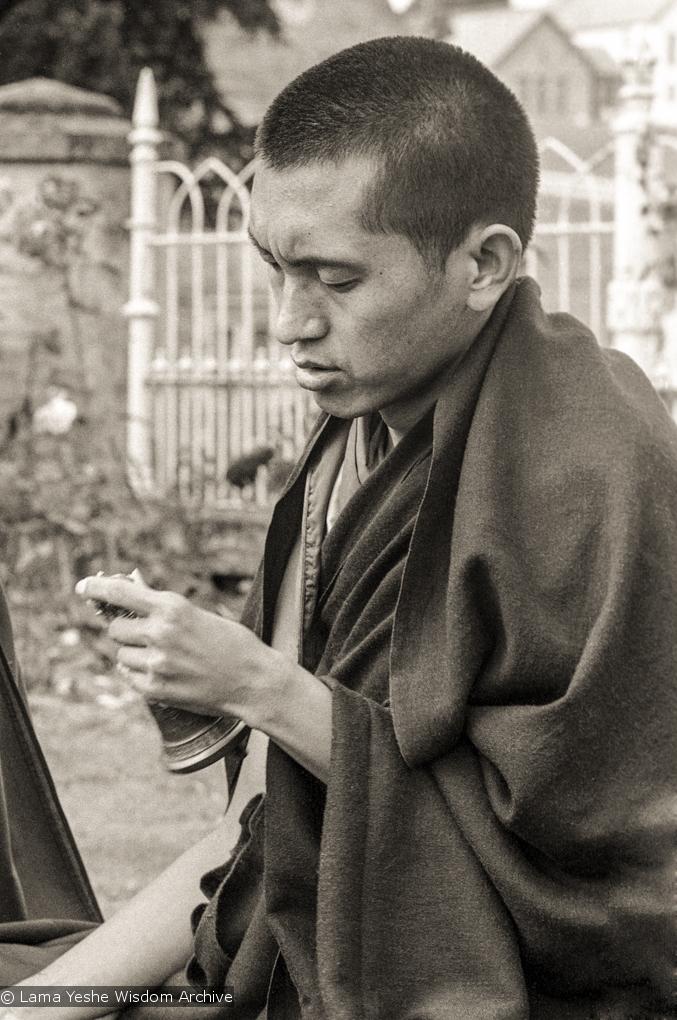 (20946_ng.TIF) Lama Zopa Rinpoche doing puja, Manjushri Institute, England, 1979. Brian Beresford (photographer)