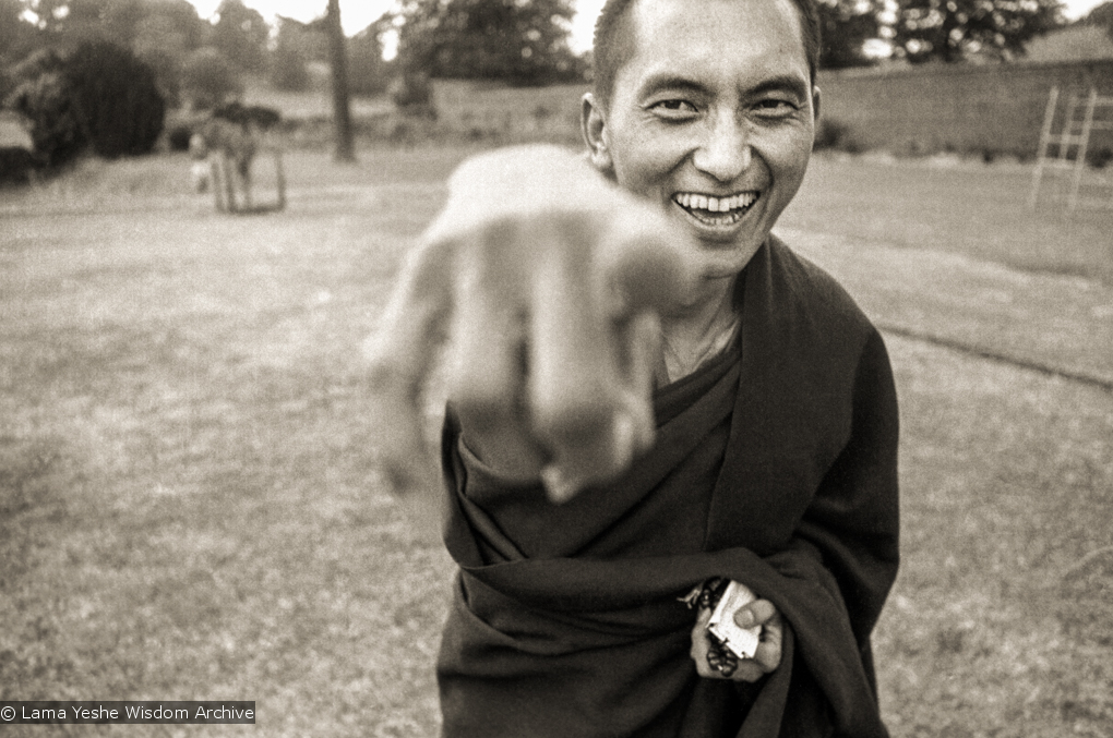 (20983_ng-1.psd) Lama Zopa Rinpoche on  Festival Day at Manjushri Institute, 1979. Brian Beresford (photographer)