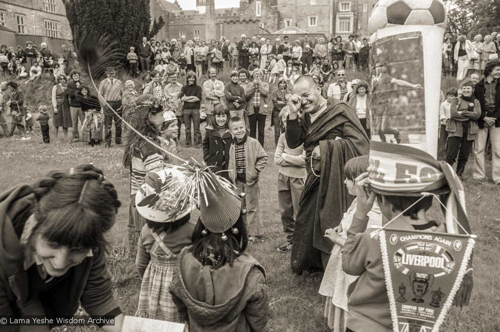 (21067_ng-1.psd) Lama Yeshe with children, Festival Day at Manjushri Institute, 1979. Brian Beresford (photographer)