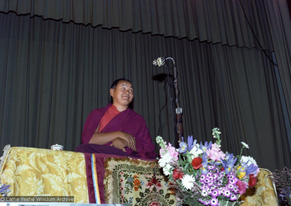 (22161_ng.tif) Lama Yeshe teaching at Malvern Town Hall, Australia, 1979.
