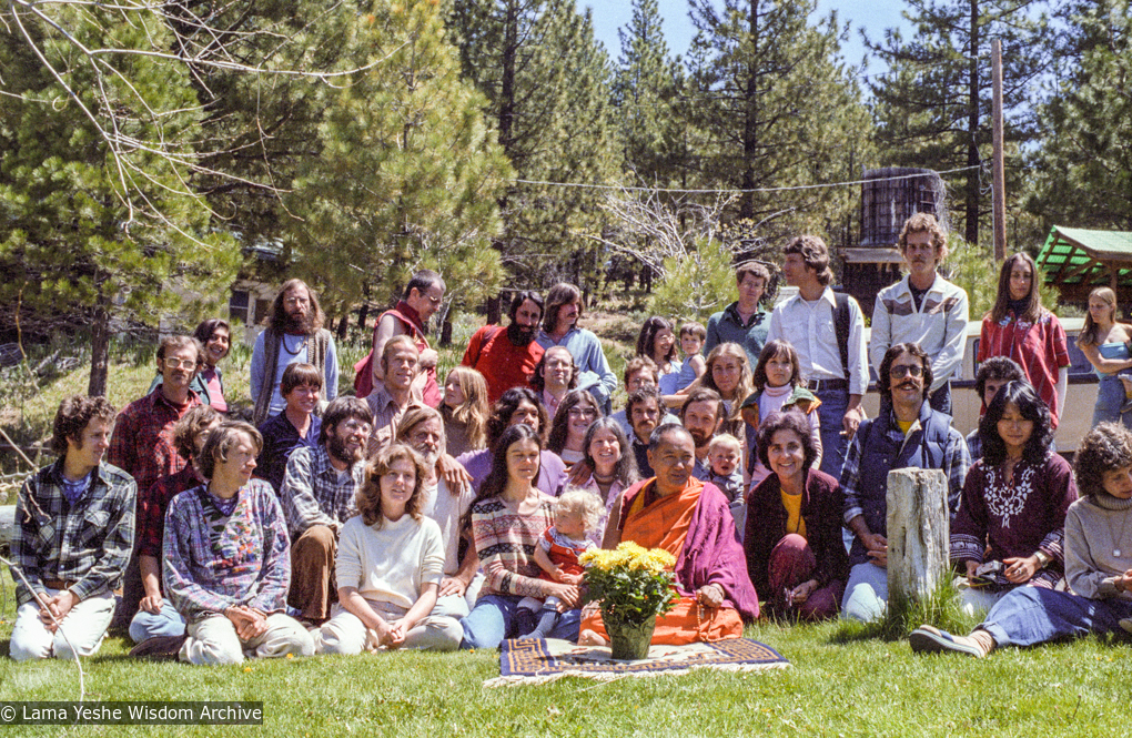 (22491_ng-3.tif) Lama Yeshe with retreat group at Grizzly Lodge, CA, 1980.