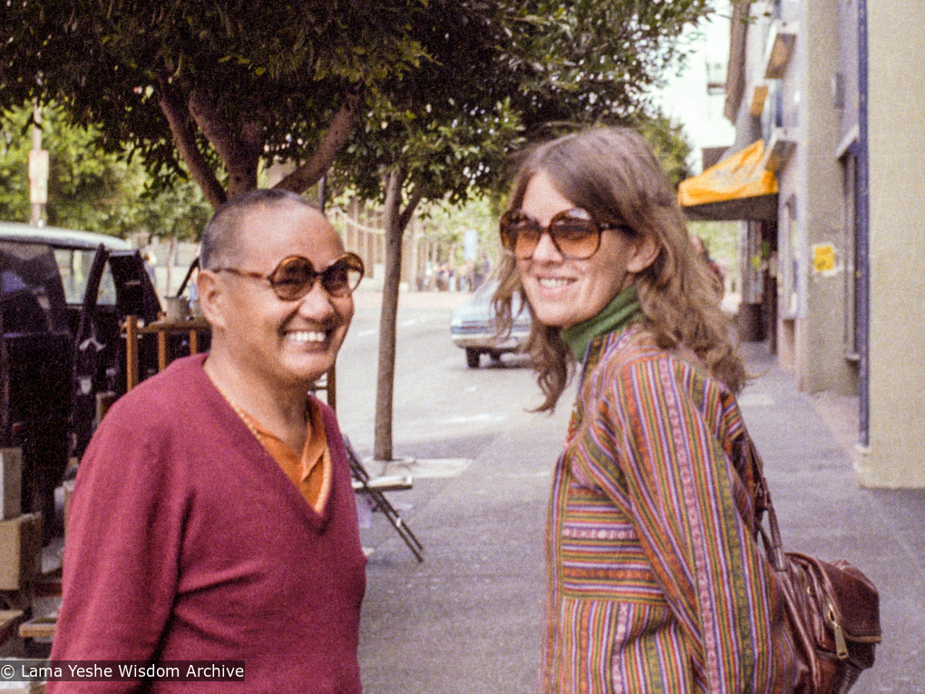 (22539_ng-3.tif) Lama Yeshe with Judy Weitzner, Berkeley, 1980.