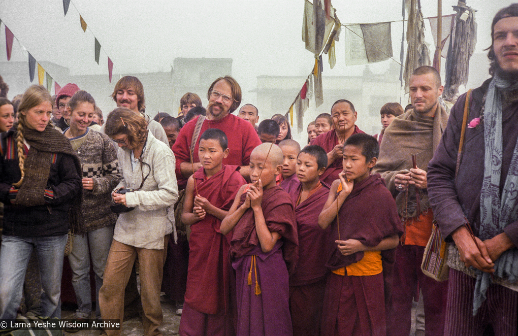 (22912_ng-3.psd) Jeff Nye, center, Lama Yeshe, Hermes Brandt, and the Mount Everest Center students in Boudha, Nepal, 1979. Ina Van Delden (photographer)