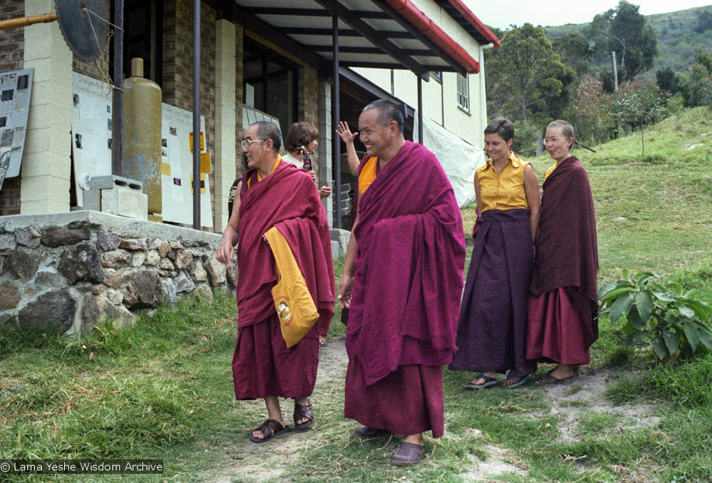 (23314_ng.tif) Lama Yeshe at Chenrezig Institute, Australia, 1979, with Geshe Loden on left, Yeshe Khadro (Marie Obst) and Karin Valham on the right.