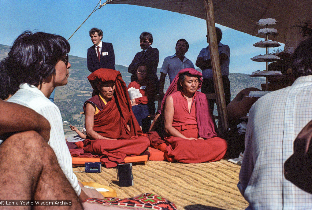 (25047_ng.TIF) Lama Yeshe and Geshe Losang Tsultrim at O Sel Ling. In September of 1982, H.H. Dalai Lama visited this retreat center that the lamas had just set up in Bubion, a small town near the Alpujarra mountains near Granada, Spain. At the end of His Holiness teaching he named the center O Sel Ling. Photo by Pablo Giralt de Arquer.