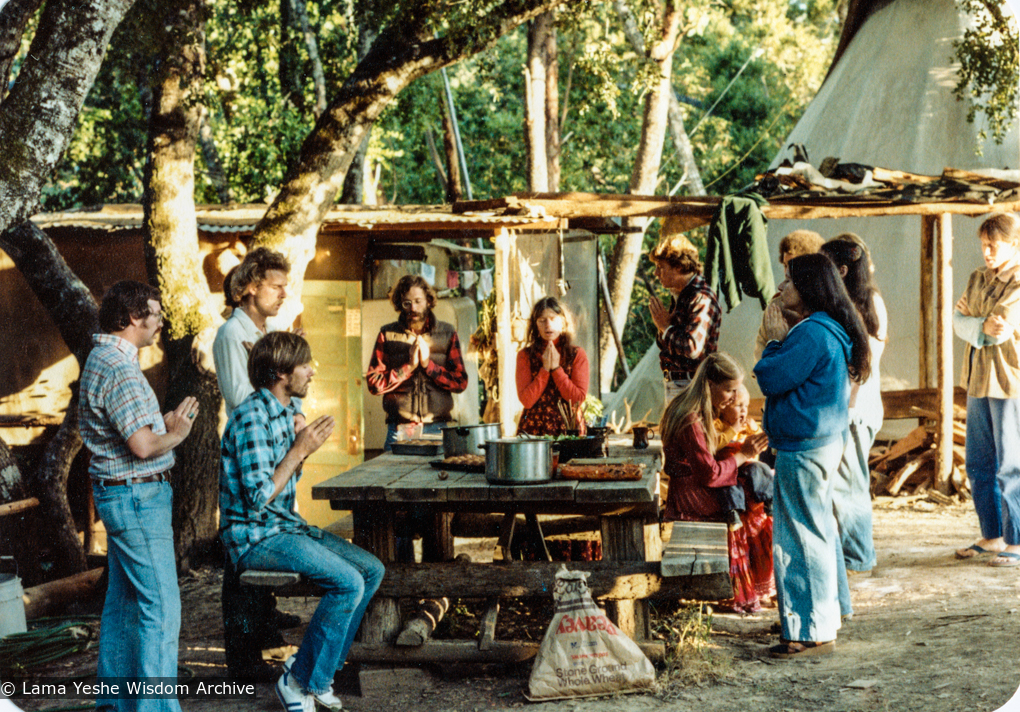 (34225_pr-3.tif) Lunch with students on the Ridge, Vajrapani Institute, California, 1980.