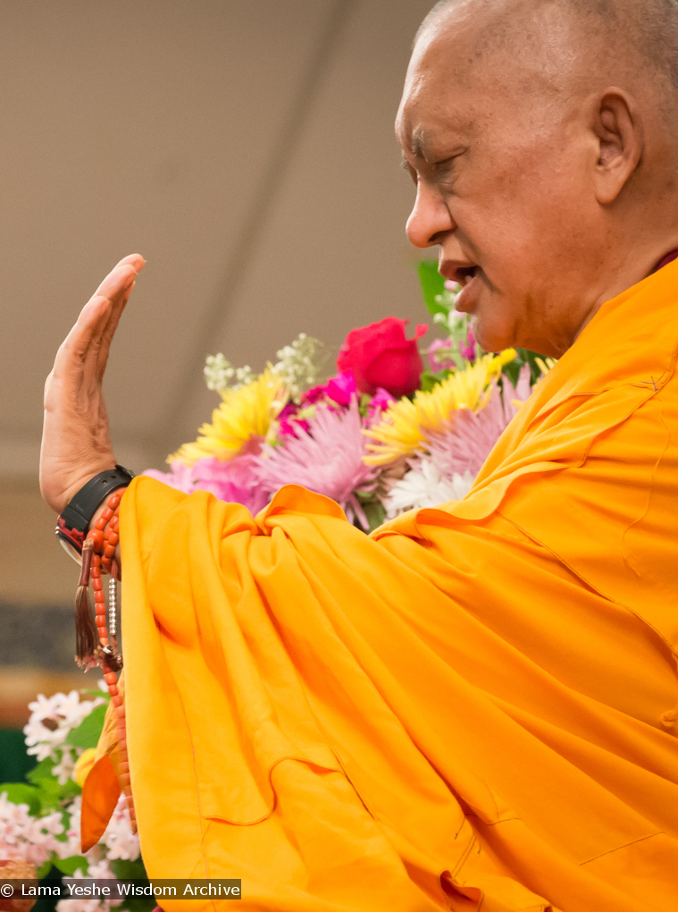 (34871_ud.jpg) Images from the Light On the Path retreat with Lama Zopa Rinpoche in North Carolina, spring 2014. Photos by Roy Harvey.