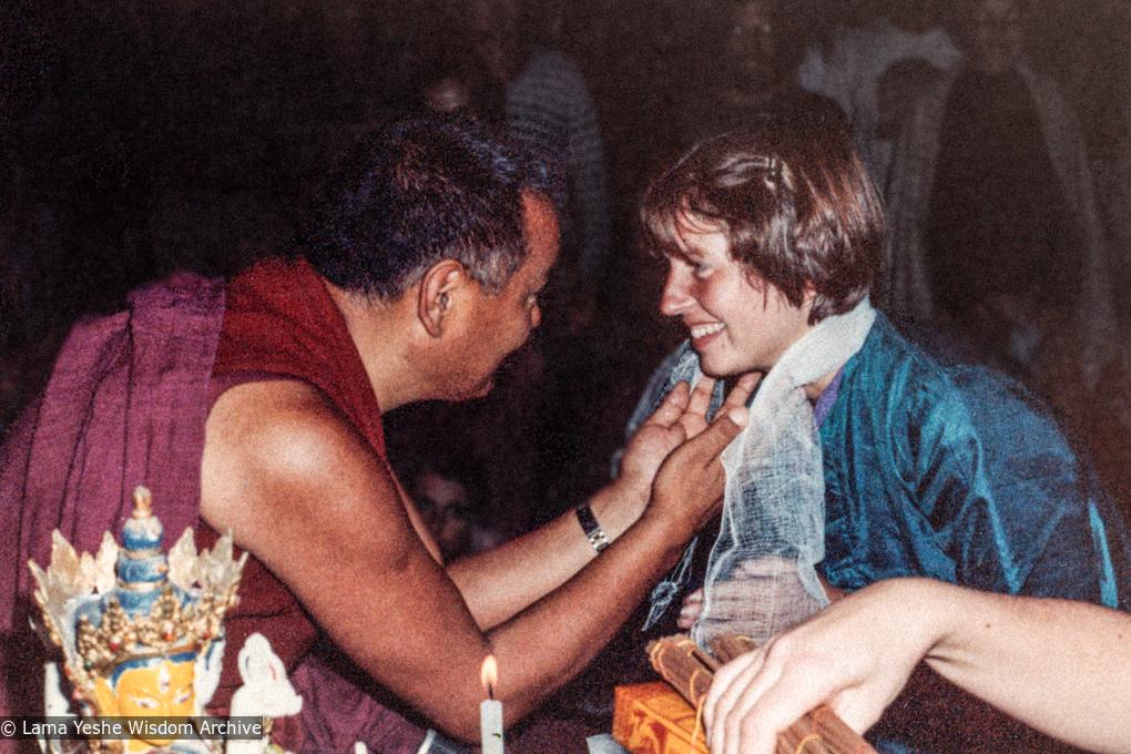 (38049_pr-3.jpg) Lama Yeshe with Merry Colony, 13th Kopan Meditation Course, Nepal, 1980. Dean Alper (donor)