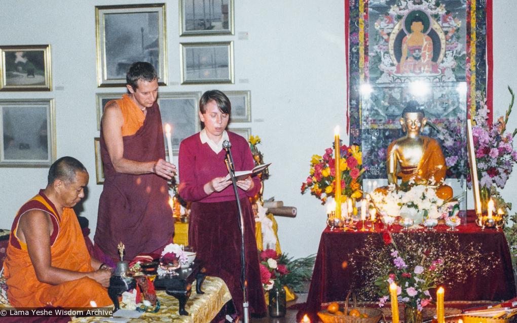(39453_pr-3.psd) Adrian Feldmann (Thubten Gyatso) and Liz Menzel with Lama Yeshe, Realities Gallery, Australia, 1979.