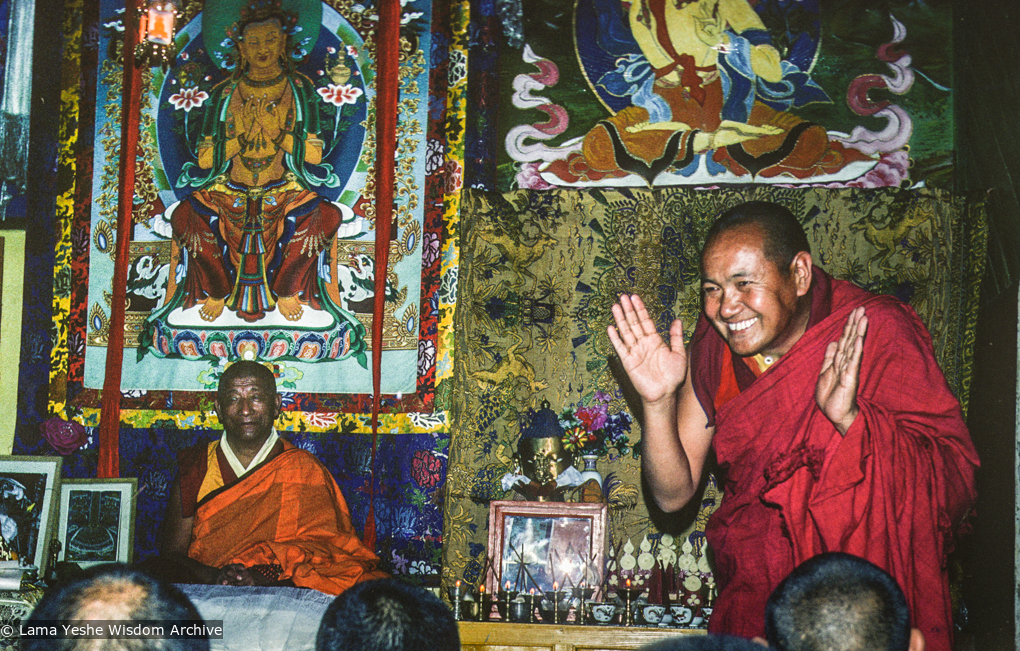 (39463_sl-3.tif) Lama Yeshe with Geshe Rabten, Powa teachings, Tushita Retreat Centre, Dharamsala, India, 1980.