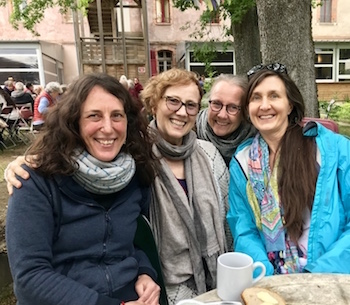 Stacey Martin and Wendy Cook from LYWA with Dechen (Molly) Wiseman and Christina Lundberg. June 2019, Institut Vajra Yogini, France.