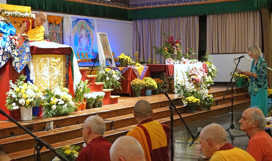 Merry Colony offering praise to Lama Zopa Rinpoche during the long life puja at the Light of the Path retreat, North Carolina, US, September 2017. Photo by Ven. Lobsang Sherab.