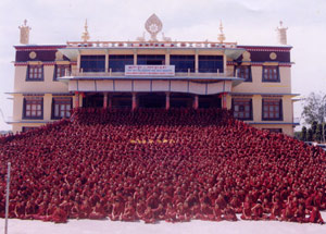 Monks at Sera Je Monastery, Karnataka State, India.