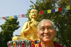 Lama Zopa Rinpoche at Root Institute, Bodhgaya, India in 2000. Photo by Todd Moore.
