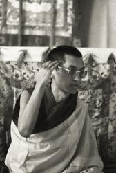 Lama Zopa Rinpoche teaching during the Ninth Meditation Course, Kopan Monastery, Nepal, 1976.