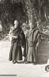 (08623_ng-2.psd) Lama Yeshe and Marcel Bertels at Kopan Monastery, Nepal, 1974.