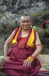 Lama Zopa Ripoche at Lawudo Retreat Centre, Solu Khumbu, Nepal. Photo: Roger Kunsang