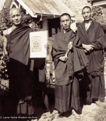 Lama Yeshe and Lama Zopa Rinpoche in Darjeeling, India, in 1967. Photo used with permission of the estate of Zina Rachevsky.