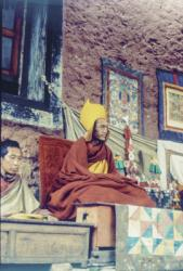 Lama Zopa Rinpoche at Lawudo Retreat Centre, Solu Khumbu, Nepal, 1979. Photo: Georges Luneau.