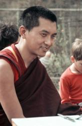 Lama Zopa Rinpoche in Bodhgaya, India, 1982. Photographer: Ina Van Delden.