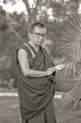 Lama Zopa Rinpoche at Chenrezig Institute, Australia, 1991.