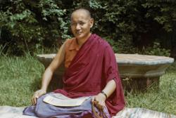 Lama Yeshe studying at Kopan Monastery, Nepal, 1974. Photo: Robbie Solick.
