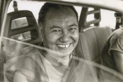 Lama Yeshe leaving Geneva, Switzerland, 1983. Photo: Jan-Paul Kool.
