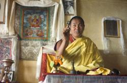 Lama Yeshe teaching in the gompa at Kopan Monastery, Nepal, 1974. Photo: Ursula Bernis.