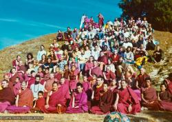 (15843_pr.psd) Lama Yeshe and Lama Zopa Rinpoche in a group photo from the Seventh Meditation Course, Kopan Monastery, Nepal, 1974.