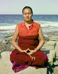 Lama Yeshe meditating by the ocean at Maroochydore, Australia, 1974.