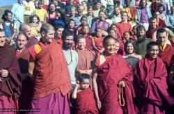 (15857_ng.tif) Lama Yeshe and Lama Zopa Rinpoche in a group photo from the Seventh Meditation Course, Kopan Monastery, Nepal, 1974.
