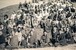 (15887_sl.tif) Lama Yeshe and Lama Zopa Rinpoche in a group photo from the Seventh Meditation Course, Kopan Monastery, Nepal, 1974.