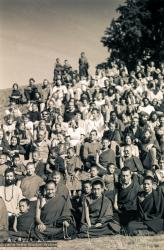 (15888_sl.tif) Lama Yeshe and Lama Zopa Rinpoche in a group photo from the Seventh Meditation Course, Kopan Monastery, Nepal, 1974.