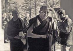 His Holiness the Dalai Lama at the Tibetan Library, Dharamsala, India,1975. Photo: Dan Laine.