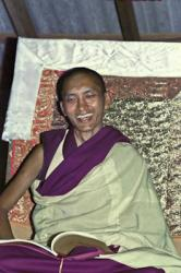 Lama Zopa Rinpoche teaching at Chenrezig Institute, Queensland, Australia 1975.
