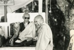 Lama Yeshe and His Holiness Zong Rinpoche. Photo from the collection of Francesco Prevosti. Photographer unknown.
