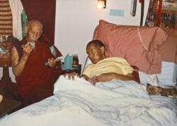 (17362_pr-2.psd) A photo of Lama Yeshe and Song (Zong) Rinpoche shortly before Lama's death, California, 1984. Photo by Lama Zopa Rinpoche.
