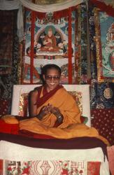 Lama Zopa Rinpoche teaching at the 11th Kopan Course, Kopan Monastery, Nepal, 1978. Photo: Robin Bath.