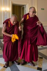 His Holiness the Dalai Lama with Lama Zopa Rinpoche, Italy, June 2014.