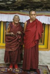 Lama Zopa Rinpoche with Ama-la (his mother) at Lawudo Retreat Center, Nepal, 1990. Photo: Merry Colony.