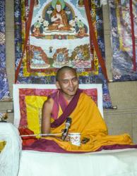Lama Zopa Rinpoche teaching at the 12th Meditation Course at Kopan Monastery, Nepal, 1979. Photo: Ina Van Delden.