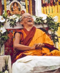Lama Zopa Rinpoche teaching in Singapore, 2010. Photo by Miss Seow.