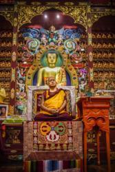 Lama Zopa Rinpoche teaching at Nalanda Institute, France, 2010. Photo: Thubten Kunsang (Henri Lopez).