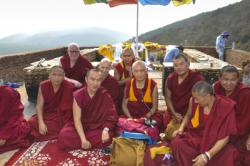 Lama Zopa Rinpoche with Sangha at Vulture's Peak, Rajgir, 12 March 2014. Photo: Thubten Jangchub.